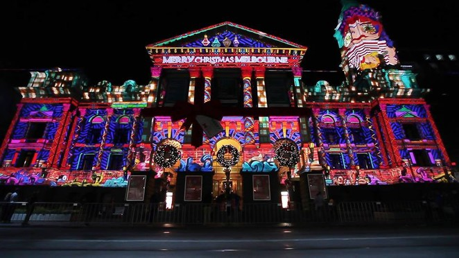 Melbourne Town Hall, Christmas in Melbourne, Sound and light show, building light show, Melbourne Christmas festival, free christmas,