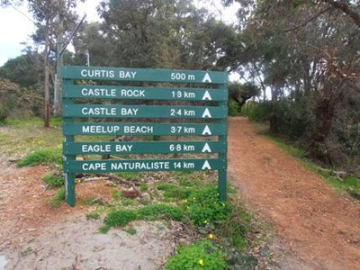 This bushwalking trail-head lists walks into the Meelup Regional Park.