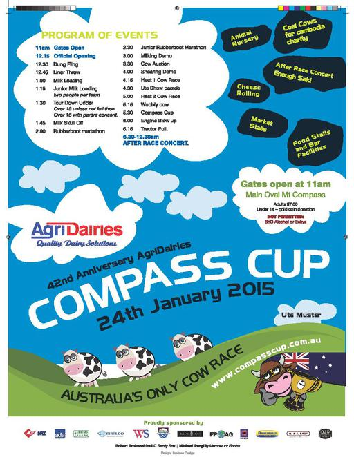 Mount Compass; Compass Cup; 42nd Anniversary AgriDairies Compass Cup; 42nd Anniversary AgriDairies Compass Cup 24th January 2015; Australia's only cow race; Tour Down Udder; dung fling; rubber boot marathon; tractor pull; ute muster