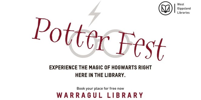 potter fest, warragul library, community event, harry potter and the cursed child stage show, all things pottter relatedion, fun things to do, school holiday activity, fun for kids, west gibbsland libraries, make a monster book, quidditch sport game