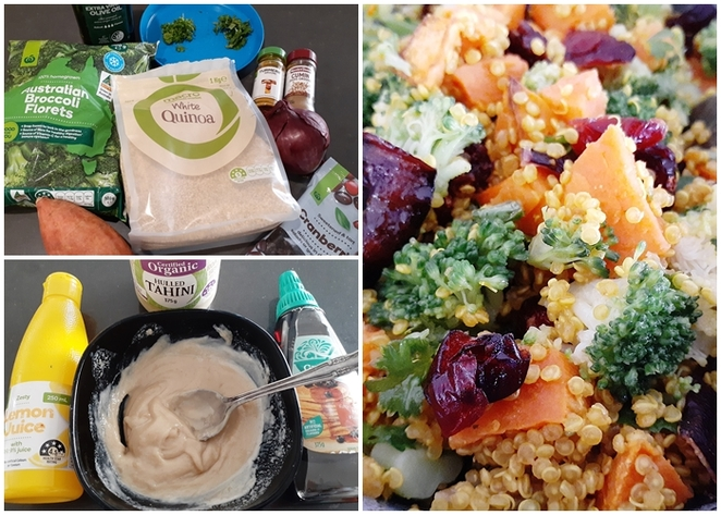 spiced quinoa and roast vegetable salad, quinoa, salad, recipe, roast vegetable, sweet potato, kumera, cranberries, broccoli, tahini dressing, red onion, cumin, coriander, spices, easy, healthy, olive oil, salad recipes, lunch, side salad, australia, work lunch,