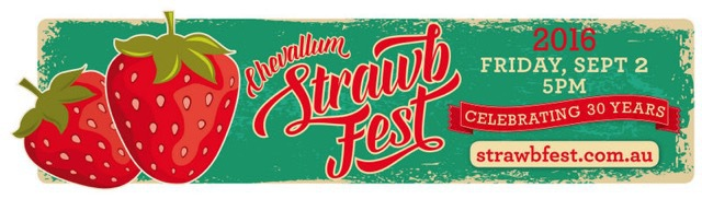 Strawbfest, 30th Anniversary, strawberry and marshmallow kebabs, strawberry daiquiris, strawberry-topped pavlovas, strawberry milk shakes, chocolate-coated strawberries, side show alley, music, stalls, entertainment rides, all things strawberry