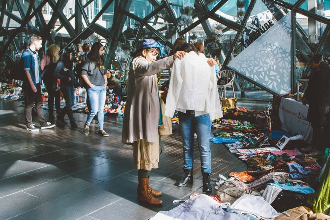 suitcase, rummage, federation square, atrium, bargain, preloved, clothes, bric-a-brac, trash and treasure, danielle, constance