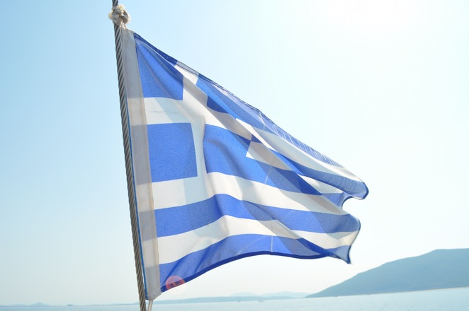 The galanolefki - the blue and white Greek flag