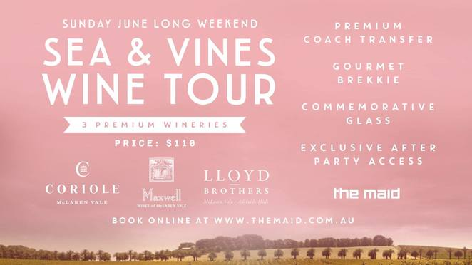 The Maid, McLaren Vale, Sea and Vines, Long Weekend, Coriole, Lloyd brothers, Maxwell wines, wine, party, winery, wine glass, food, bus, South Australia, wine region