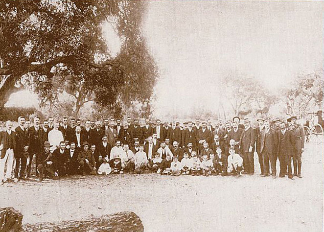 ANZAC Cottage 'Cheers for 102 Years' Concert. Some of the workers who erected ANZAC Cottage.