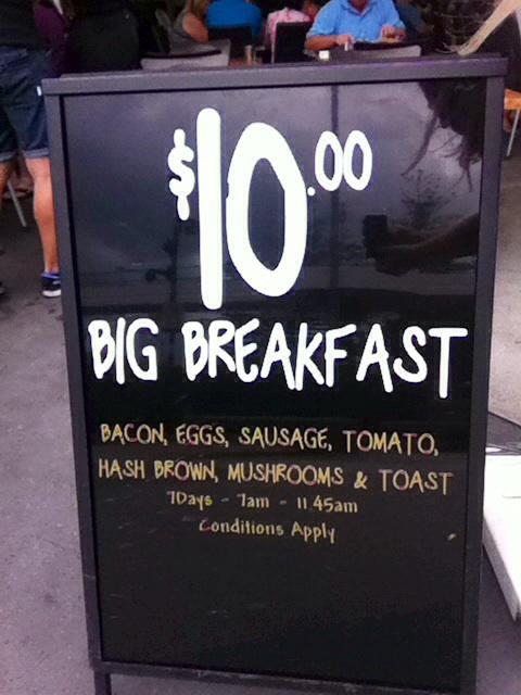 Breakfast, cheap breakfast, Gold Coast breakfast, rocks on Broadbeach, $10 big breakfast, Broadbeach