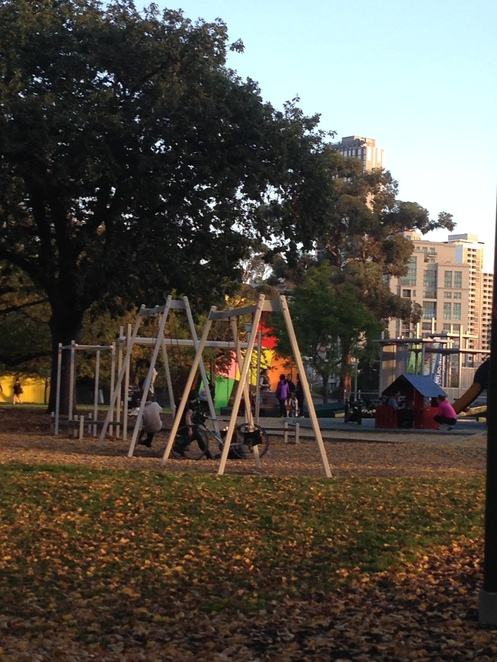 Carlton gardens, playground, lawns, melbourne museum, royal exhibition centre