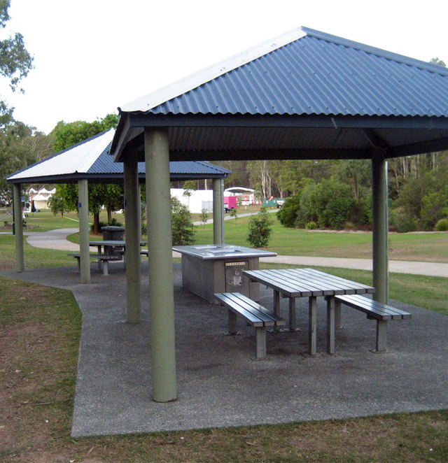 Barbecues beside the cycle path in Chermside