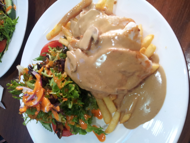 chicken mushroom, grilled chicken, mushroom sauce, chips, delicious, food, cafe, burwood, yummy, mushrooms, dining
