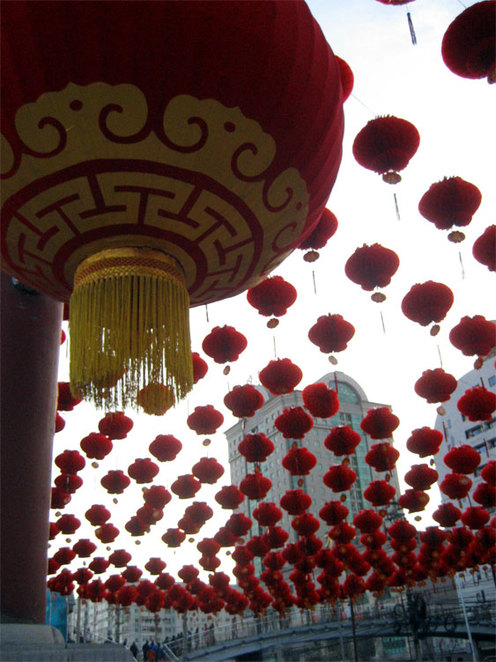 Raising the red lantern for Chinese New Year