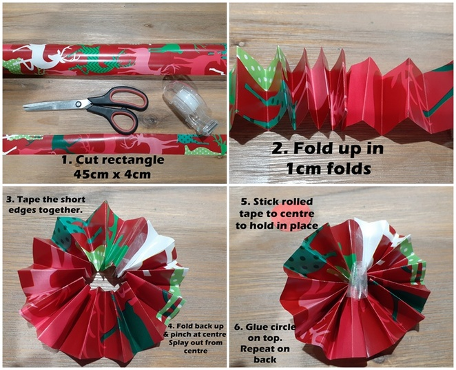 christmas wrapping paper, wrapping paper, crafts, kids, children, things to do, rainy day, craft projects, budget, cheap, rosettes, how to make a rosette, australia,