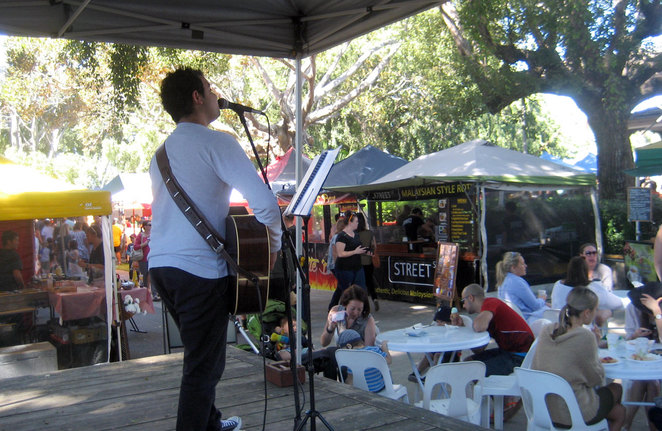Entertainment and food at the Eagle Farm Markets