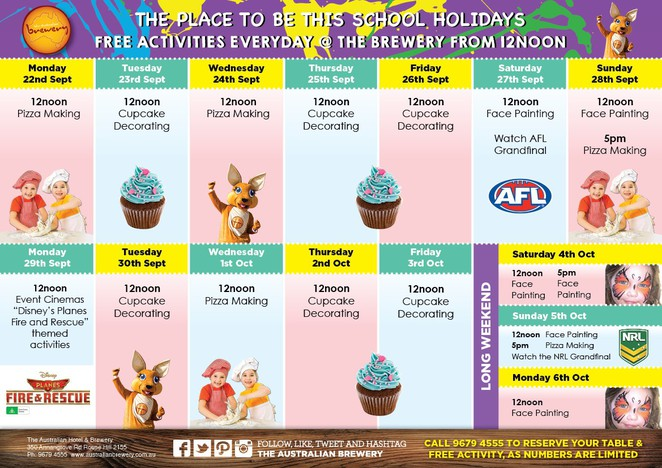 Free School Holiday Activities Australian Brewery Rouse Hill