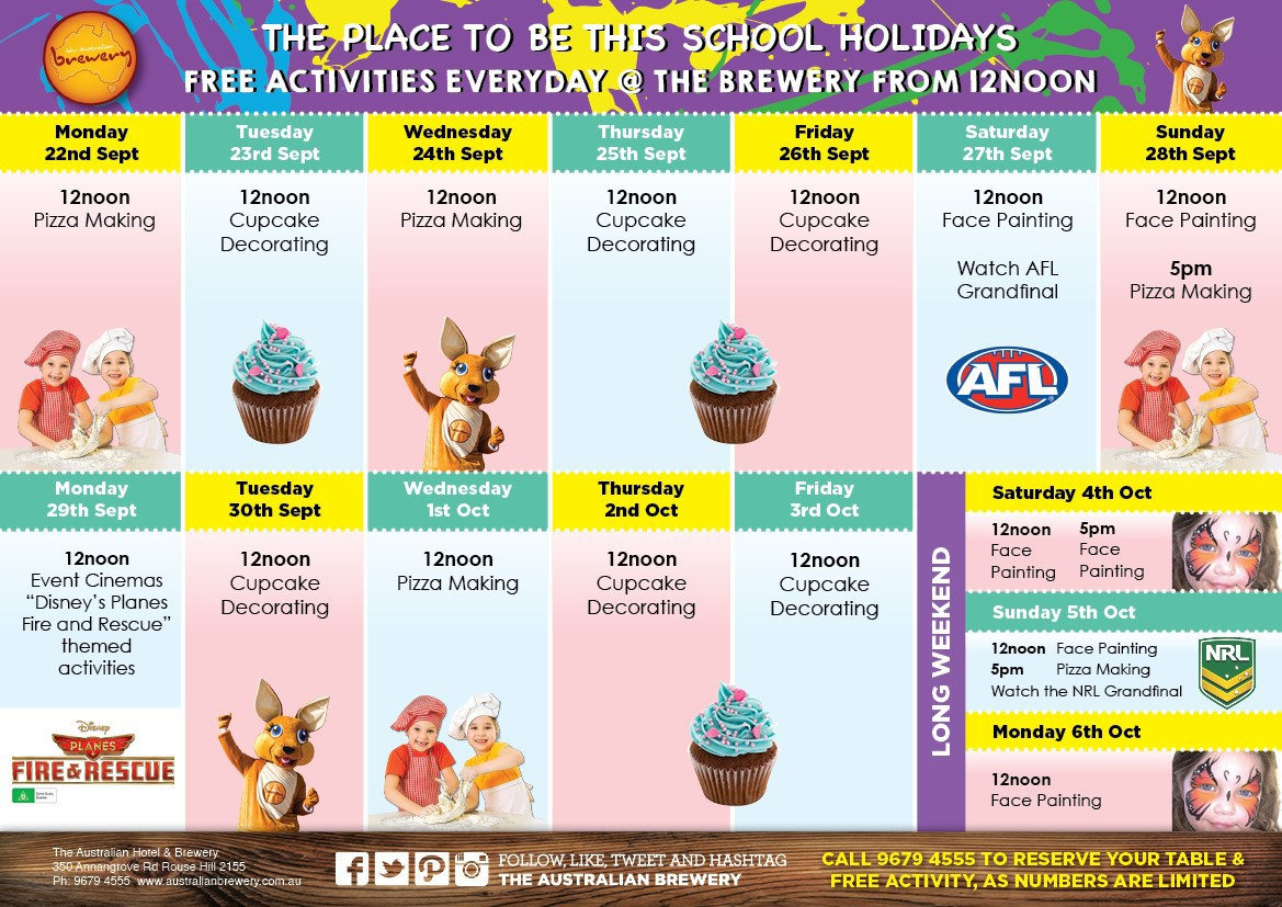 Free school holiday activities at the brewery sydney for Activities to do on christmas day at home