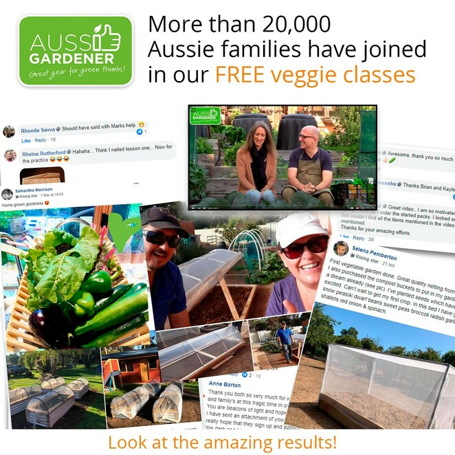 hello from the veggie patch, shopping, gardening, garden tools, free vegetable growing classes, grow food not lawn, grow your own vegetables, plant fruit trees, environmental, sustainable, aussie gardener, brian and kaylene aussie gardeners, free gardening videos, dewalt, power planter, little aussie composter, wilcox, free veggie classes, australian family owned small business, support local, support small business