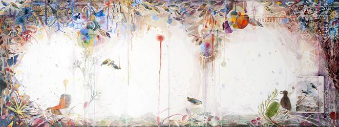 Cannon Hill waterholes – watercolour & ink on paper, 56 x 153cm