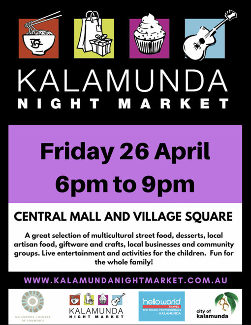 kalamunda night market, community event, fun things to do, family fun, free market event, last market for the season, moving feast band, fun things to do, family fun, shopping, market stalls, stall holders, enteratinment, activities, kids zone, scarecrow compeition, enter to win, italy tour, community free event