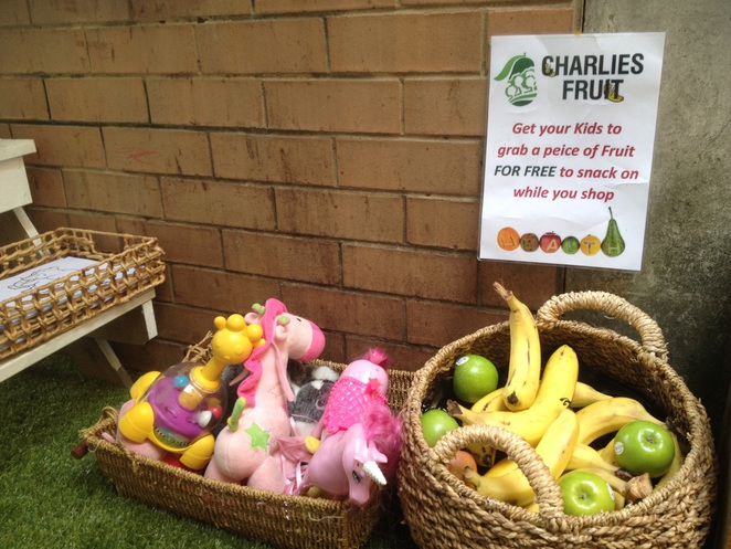 Kids play area with free fruit