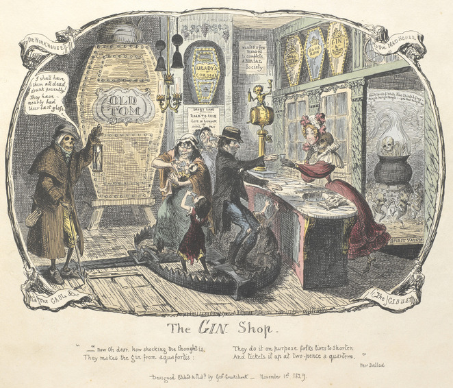 Mothers Ruin, A Cabaret About Gin, Gin, Tom Dickins, Libby Wood, Maeve Marsden, The Gin Shop, Cruikshank