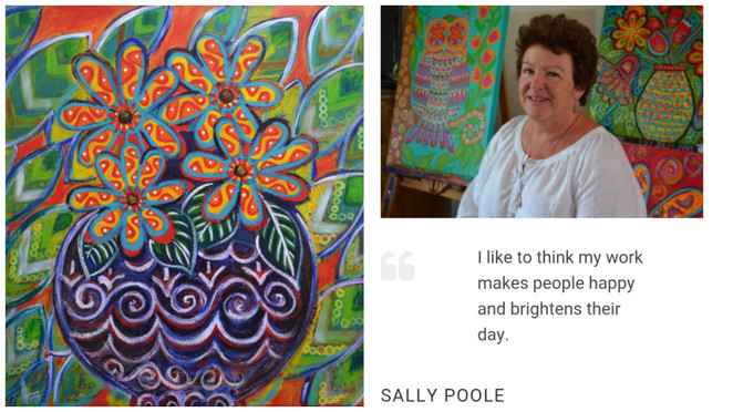 Sally Poole, Perth, Collie, Naive art, Collie Art Gallery, australian painter, giffin award, australia art gallery, western australia, aboriginal art, contemporary art,