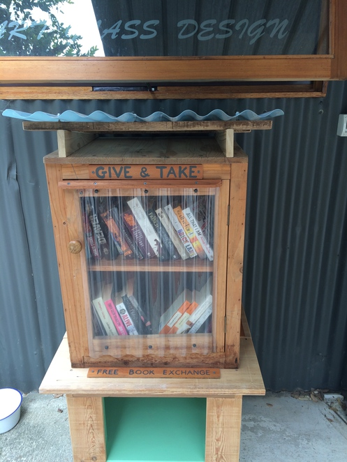 A book exchange at De Groot Coffee Co