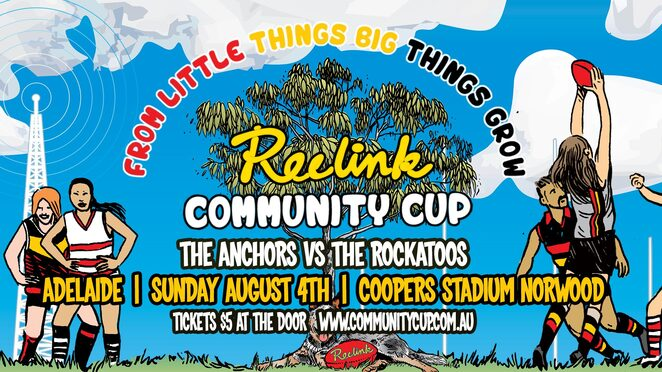 adelaide reclink community cup 2019, community event, fun things to do, norwood oval, the anchors vs the rockatoos, coopers stadium, reclink australia, fundraiser, charity, at risk kids, football match, musicians, entertainment, activities, art and sport programs, family fun day, health and fitness, sport and mental health