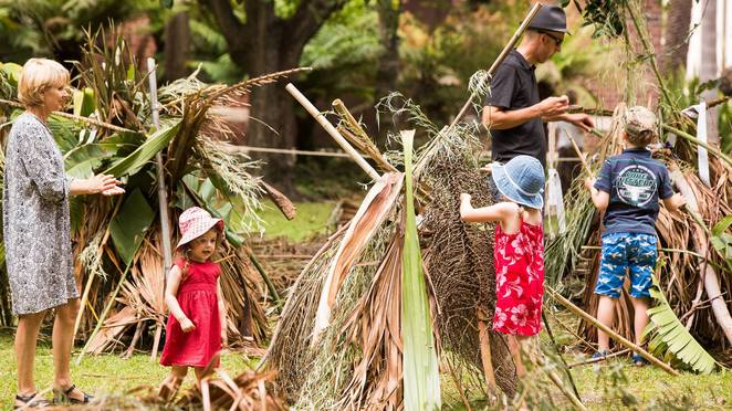 botanica, a village among the oak trees, ryal botanic gardens victoria, oak lawn, melbourne gardens, fun things to do, fun for kids, community event, school holiday fun, school holiday activities, kids activities, build cubbies, nature bases, creative activities for all ages