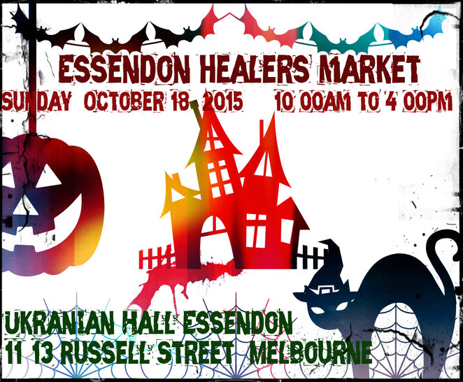 essendon healers market, halloween, ukrainian hall, tarot, psychic, medium, ribbon reading, massage, spirit drawings, kinesiology, reflrexology, reiki, candles, crystals, jewellery, soaps, henna, feng shui, essential oils