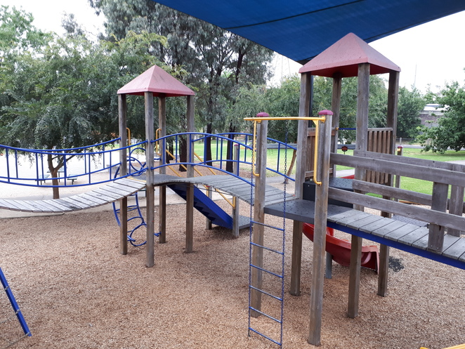 Howard Dawson Reserve, playground, high structure, castle, shaded, glen iris
