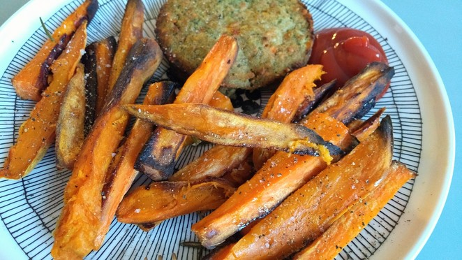 nut cutlets and sweet potatoes