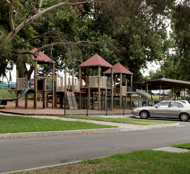Playground and sheltered picnic area.