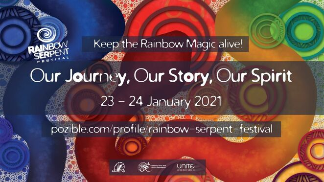 rainbow serpent festival 2021, community event, fun things to do, keep the rainbow magic alive, rainbow serpent festival 2021 online, entertainment, music, dance, our journey our story our spirit, ranbow arts and culture foundation, free online festival, atmos, augmented, bec grenfell, boogs, d-nox, gmj matter, james monro, john monkman, kasey taylor, kaya project, kodiak kid, megapixel, monkey marc, mortisville soundsystem, ozzy, perfect stranger, smilk, space tribe, spoonbill, uone, regional arts victoria, creative victoria, unite project, pay as you feel event