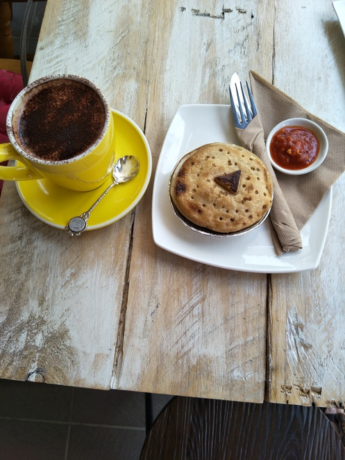 Vegan Thai Curry Pie and Hot Chocolate