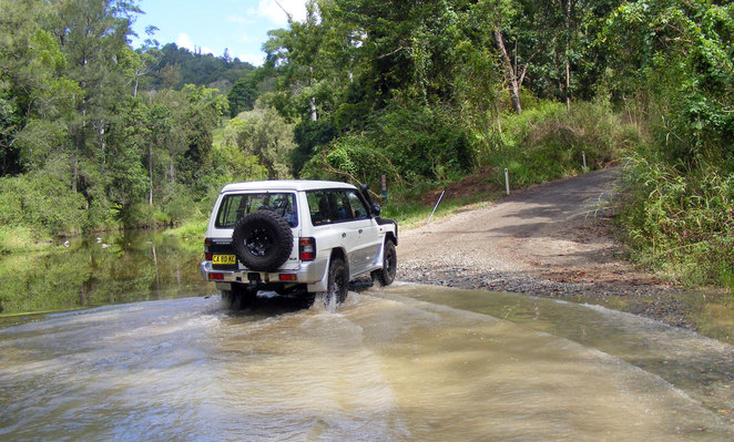 To get to the camp grounds there are several creek crossing on Booloumba Creek Road