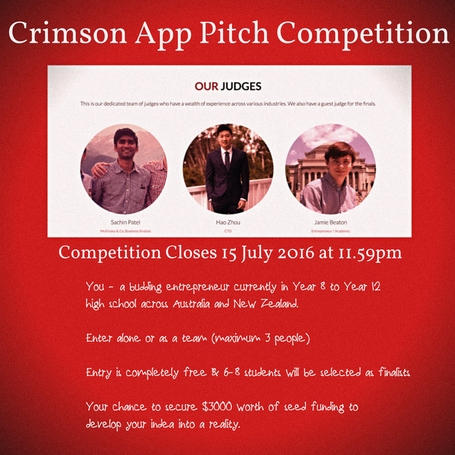 crimson app pitch competition, australia wide, budding entrepreneurs, win funding, crimson consulting, technology, programming, computers, prizes