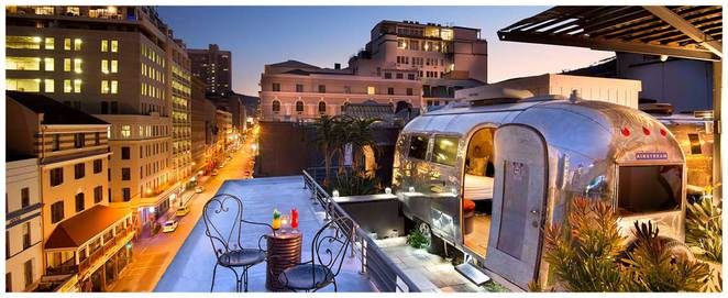 Grand Daddy Hotel, boutique hotel, Thirty Ate, Long Street, Cape Town, local landmark, contemporary decor, exclusive South African gin menu, breakfast, lunch, dinner, accommodation, rooftop Airstream Trailer park accommodation, rooftop cinema, vintage elevator, Beach House Interiors,