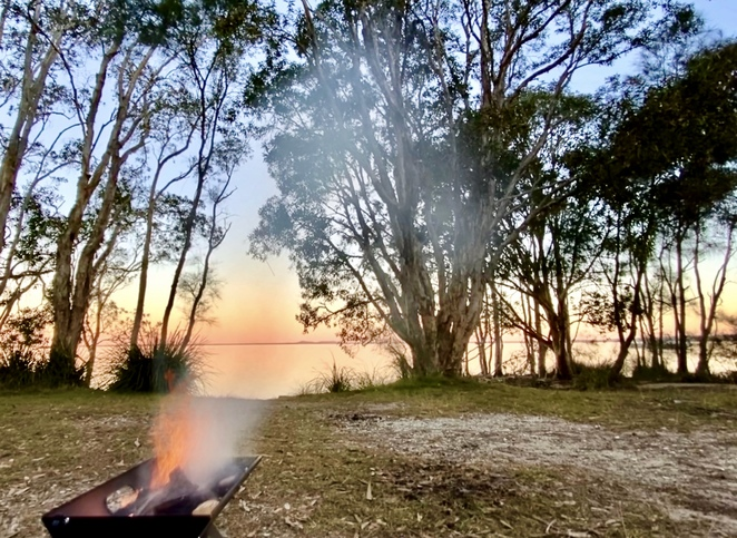 Peaceful lakeside camping at Habitat Noosa Everglades Ecocamp
