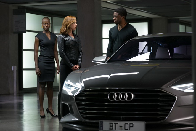 Black Widow and Prince T'Challa in MARVEL's Captain America: Civil War
