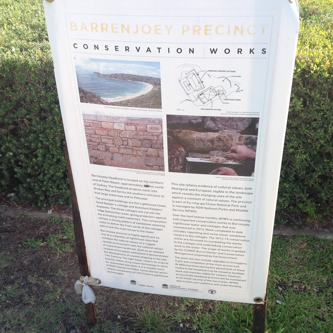 Notice board with information of the history of the lighthouse.