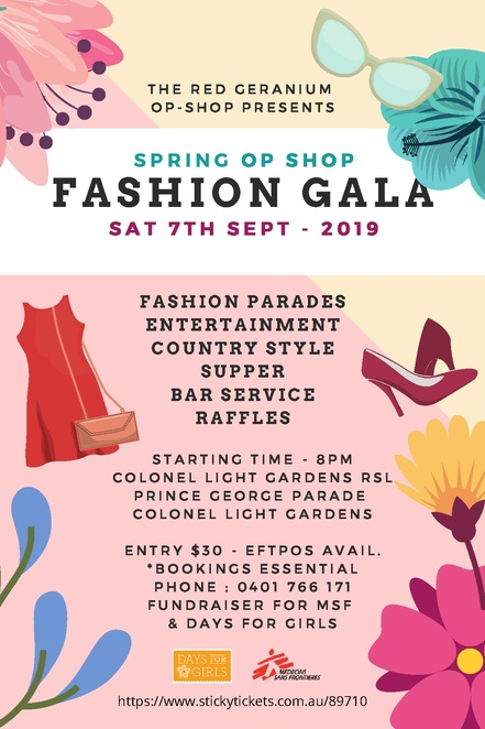 Opshop adelaide, the red geranium, fundraiser, days for girls