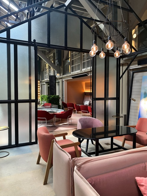 pink room, red room, velvet chairs, decadent, plush furnishings, industrial chic