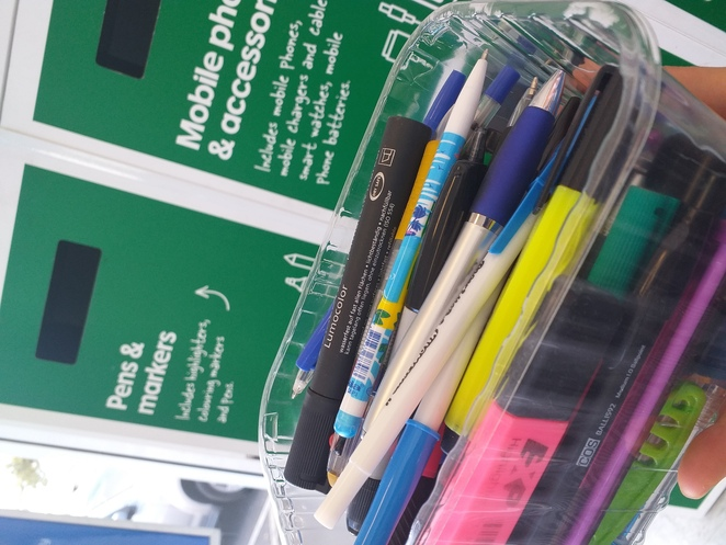 recycling, pens, markers , highlighters, officeworks