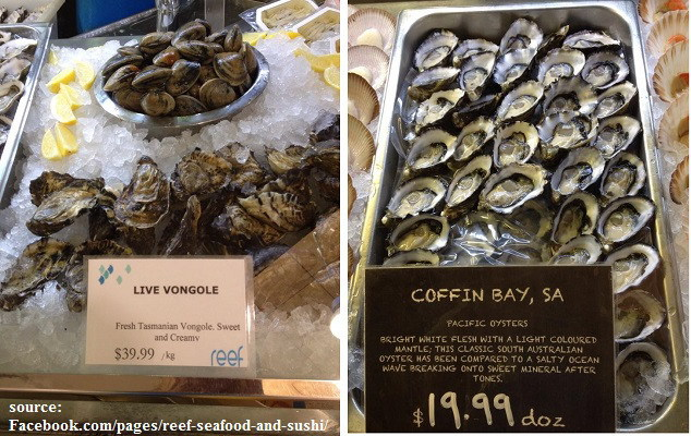reef seafood and sushi,ferry road markets,brickworks,oysters,