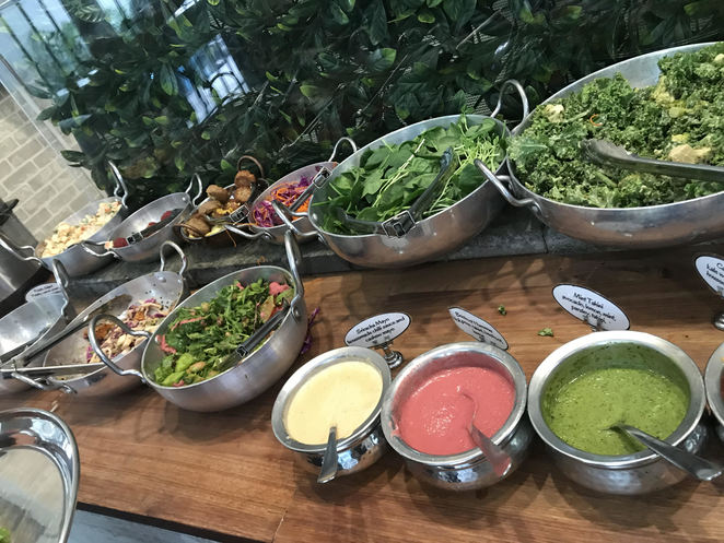 The lunch buffet at OM Vegan