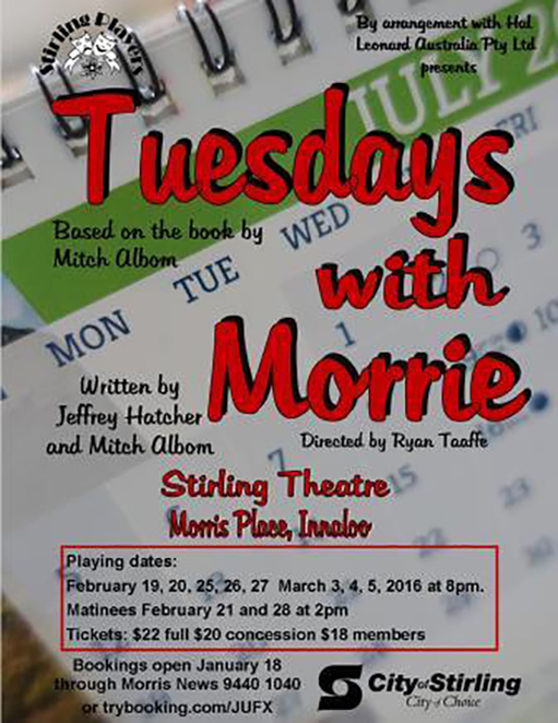 Tuesdays With Morrie, Stirling Theatre, Ryan Taaffe, Mitch Albom, Morrie Schwarz
