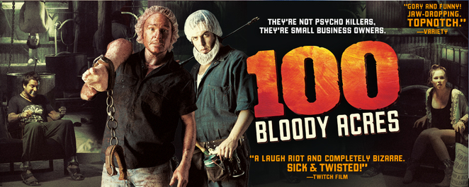 100 Bloody Acres, Australian horror movie, horror-comedy, black comedy, Damon Herriman, Angas Sampson, Anna McGahan, dark humour, Australian comedy, Australian film.