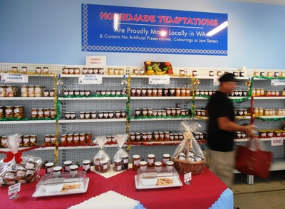 Homemade Temptations features shelves of yummy homemade preserves: great gifts for loved ones or for a private splurge.
