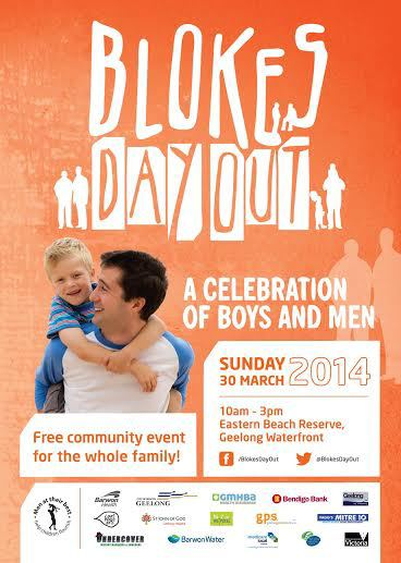 blokes day out 2014,man,child,poster