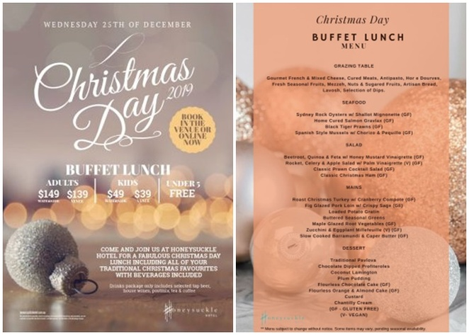christmas day, lunch, 2019, honey suckle hotel, newcastle, water views, whats on, kids, children, couples,